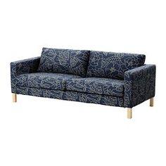 KARLSTAD Sofá de 3 lugares - Bladåker azul/bege - IKEA