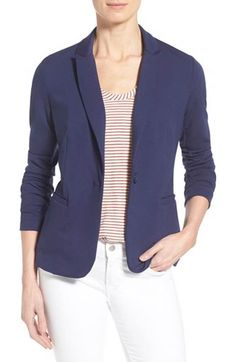 Free shipping and returns on Olivia Moon Knit Blazer (Regular & Petite) at Nordstrom.com. A lightweight knit blazer with modern styling details is offered in a variety of solids and dotted prints to color any wardrobe. The sleeves can be worn rolled or left long for versatility.