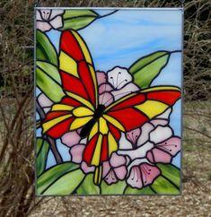 Mariposa en el Panel de vidrio de rododendro por Handcraftcottage