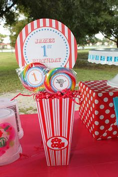red and blue circus carnival birthday party giant lollipops