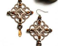 Celtic Knot Tatting Lace Beige Linen Dangle Beaded Earrings