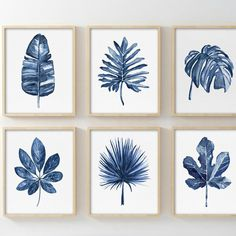 Available in a set of 4 as well. Available in a set of 4 as well. Art Aquarelle, Watercolor Paintings, Watercolour, Plant Painting, Painting & Drawing, Feather Painting, Blue Art, Minimalist Art, New Wall