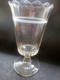 EAPG  Glass Early American Pressed Banded Footed Celery Vase Spooner