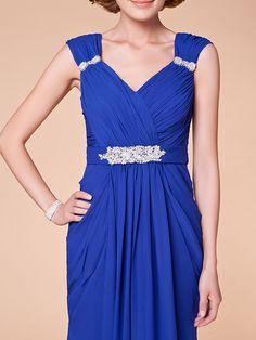 Sheath/Column Plus Sizes Mother of the Bride Dress - Royal Blue Floor-length Sleeveless Chiffon | LightInTheBox