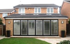 Rear elevation - bi-fold doors closed. House Extension Plans, House Extension Design, Extension Designs, Rear Extension, Extension Ideas, Bungalow Extensions, Garden Room Extensions, House Extensions, Open Plan Kitchen Dining Living
