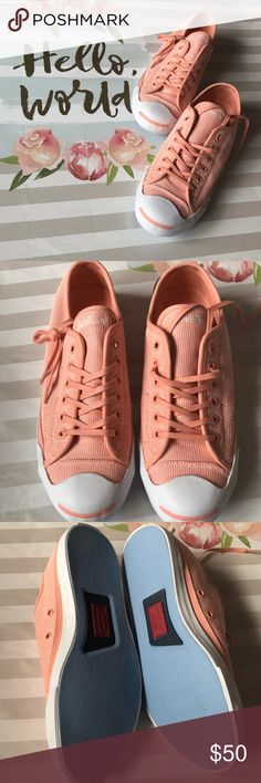 ee0cfbd40f2b6a Coral Jack Purcell Converse Super cute pair of coral Jack Purcell Converse.  Perfect for spring