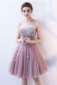 Strapless short beaded A-line homecoming dress with 3D flower