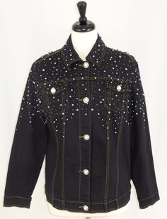 Quacker Factory Black Jean Jacket Bedazzled Pearl Buttons Silver Beads M…