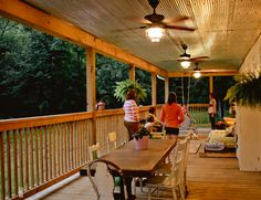 New Backyard Porch Roof Ceiling Fans Ideas Porch Ceiling, Porch Roof, Home Porch, Metal Ceiling, House With Porch, Metal Roof, Porch Swing, Front Porch, Ceiling Fans