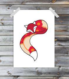 Sleeping fox  A4 Print  Scandinavian retro autumn by hannakarlzon, $22.00