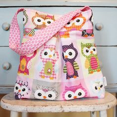 Large OWL Diaper Bag by PETUNIAS  hobo bag purse by PETUNIAS, $68.50
