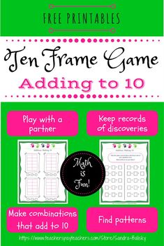 Students work with a partner to practice adding to 10 using ten frames, recording answers, and finding patterns. Kindergarten Math, Preschool, Science Activities For Kids, Stem Activities, Ten Frames, Homeschool Math, Home Schooling, Fun Math, Math Resources