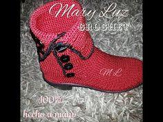 BOTA MODELO FUEGO Flip Flop Sandals, Shoes Sandals, Dress Shoes, Crochet Shoes, Crochet Slippers, Crochet Stocking, Crochet Video, Spring Boots, Shoe Pattern
