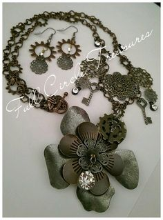 """Antiqued steampunk flower gears necklace, Handmade earrings, Gift for her, Victorian, Vintage inspired, 24"""" necklace and 2 1/2"""" earrings set by FullCircleTreasures on Etsy https://www.etsy.com/listing/206940520/antiqued-steampunk-flower-gears-necklace"""