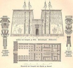Plano del templo de Edfu (grabado alemán de 1891)