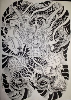 Japanese Drawings, Japanese Dragon Tattoos, Japanese Tattoo Art, Japanese Tattoo Designs, Japanese Sleeve Tattoos, Full Body Tattoo, Back Tattoo, Head Tattoos, Body Art Tattoos