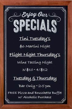 NEW Tuesday and Thursday Specials - with a FREE Pizza and Bruschetta Buffet at the BAR ONLY with an alcoholic purchase!