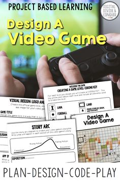 Project based learning that will take students through the video game designing process. Start with an idea, move into a story, and then develop the gameplay. Design a video game engages and encourage (Tech Projects Learning) Problem Based Learning, Problem Solving Skills, Project Based Learning, Learning Activities, Teaching Resources, Teaching Kindergarten, Video Game Development, Child Development, Language Development
