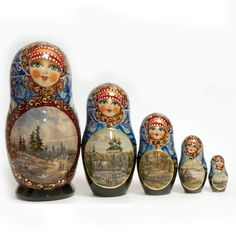 Matryoshka Russian Landscapes is a one-of-a-kind nesting doll. The nesting dolls contains Russian winter scenes which are painted with much details. The nesting doll is is decorated all around using different techniques and materials.