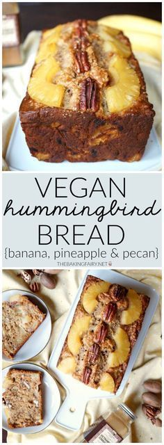 VEGAN HUMMINGBIRD BREAD Give your banana bread a fresh spring makeover by adding pecans and pineapple! This Vegan Hummingbird Bread is super simple to make, one-bowl, and delicious! Desserts Végétaliens, Vegan Dessert Recipes, Vegan Sweets, Whole Food Recipes, Dessert Healthy, Vegan Baking Recipes, Pizza Recipes, Cake Recipes, Cooking Recipes