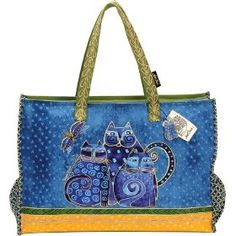 Laurel Burch Oversized Tote with Zipper Top, Indigo Cats