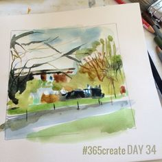 Day 34 Watercolours are the quickest way for me to get an idea down. They encourage me to work loosely, to think in areas and are an easy way to start to think about mixing the colours for a larger painting. #sketchbook
