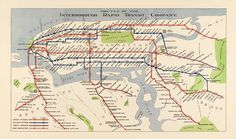 Routes of the Interborough Rapid Transit Company, Manhattan, New York city subway system Vintage reproduction map. New York City Map, New York Subway, Nyc Subway, Tourism Poster, Travel Posters, Subway Map, Rapid Transit, Park In New York
