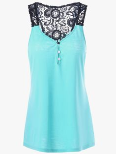 Button Lace Hollow Out Racerback Tank Top in Lake Blue | Sammydress.com