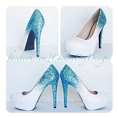 Glitter High Heels Blue and White Pumps -Aqua Turquoise Ombre Platform... ❤ liked on Polyvore featuring shoes, pumps, turquoise pumps, sparkly shoes, high heel pumps, glitter shoes and high heeled footwear