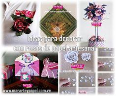 Ideas para decorar con rosas de papel artesanal | Aprender manualidades es facilisimo.com