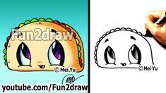 Cute Easy Drawings - How to Draw Cartoon Food - Taco - dibujos animados ...