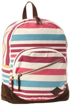 Roxy Luggage Long Time Backpack, Stripe, One Size Roxy. $52.00. Hand Wash. Logo buckles and logo plate. Adjustable straps, multiple zipper pockets. 100% cotton