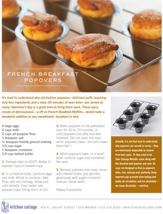 French Breakfast Popovers, doing this for breakfast! Dessert Bread, Breakfast Dessert, Dessert For Dinner, Brunch Recipes, Breakfast Recipes, Snack Recipes, Snacks, Profiteroles, Eclairs