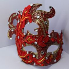 Red Bejeweled Sparkly Phoenix Halloween Masquerade Ball Face Mask SKU-321072