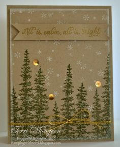 handmade winter/Chirstmas card from Stamping With Terri ... kraft ... winter tall tress in olive ... small snowflakes in white ... like it! ... Stampin' Up!