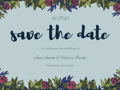 A modern Save The Date Wedding Invitation with a light blue background, floral illustrations, and dark blue text. Modern Save The Dates, Light Blue Background, Floral Illustrations, Special Day, Dark Blue, Wedding Invitations, Dating, Quotes, Deep Blue