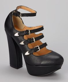 Another great find on #zulily! Black Four-Buckle Leather Platform Pump #zulilyfinds