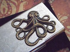 Steampunk Business Card Case Brass Octopus Card by CosmicFirefly  $48