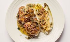 'Serve with its mustard and honey cooking juices': chicken and chicory.