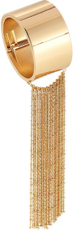 Lydell NYC Golden Hinged Cuff Bracelet w/ Fringe