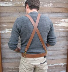 Suspenders like Takashi wears. (Mens Steampunk Suspender Harness Caramel Brown Leather with Brass Hardware. $74.00, via Etsy.)