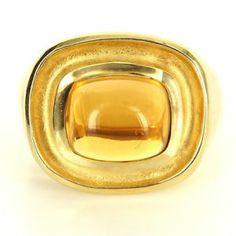 Estate 14 Karat Yellow Gold Sugarloaf Citrine Cocktail Ring $1095