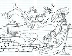 Oriental Lady Drawing Coloring Page Picture Traditional National Costume Kimono Japanese Lady Woman Girl Princess Cultural Download Digital