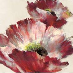 Lush Poppy On Cream Canvas Art - Brent Heighton (24 x 24)