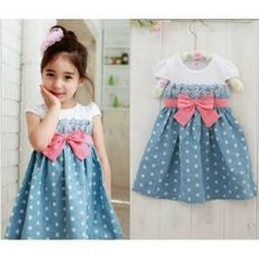 Dress Kids Blue Polka. Bahan Spandex. Size Anak 4-6th.  Beli 3 @Rp 72.000,- Satuan Rp 87.000,- SMS/WA (085714378986), BBM (769F8A51)