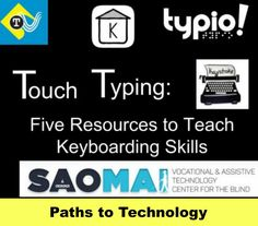 These 5 resources can help you to teach keyboarding skills and touch typing to students who are blind or visually impaired. Visual Impairment, Technical Writing, Assistive Technology, Student Teaching, Writing Skills, Binder, Literacy, Core, Students