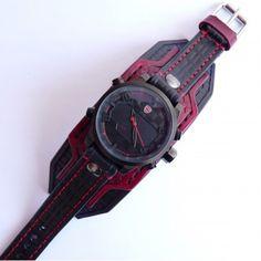 Black & Red Leather Cuff Watch, Wrist Watch, Leather Men's watch, Leather Cuff, Bracelet Watch, Watch Cuff W150