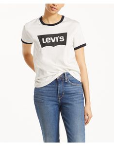e4da101f38538a Levi s Women s Perfect Ringer T-Shirt - Housemark Cloud Dancer