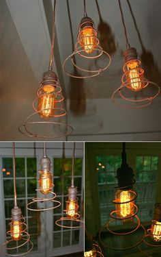 Industrial Lighting Fixtures Urban Hardware's Etsy Shop has shown a great way to use bed springs to turn ordinary bulbs into lighting fixtures that can give an industrial feel to a room in which they are added. Garden Trellises Karin at Hometalk has created these trellises for her garden by cleverly re-purposing old bed springs.