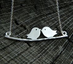 Bird Necklace STERLING SILVER Valentines Gift by DanglingJewelry, $24.00